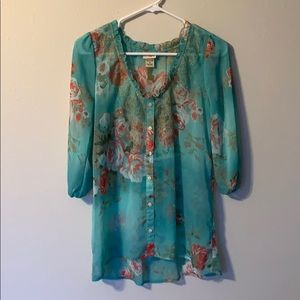 Flowered Button blouse